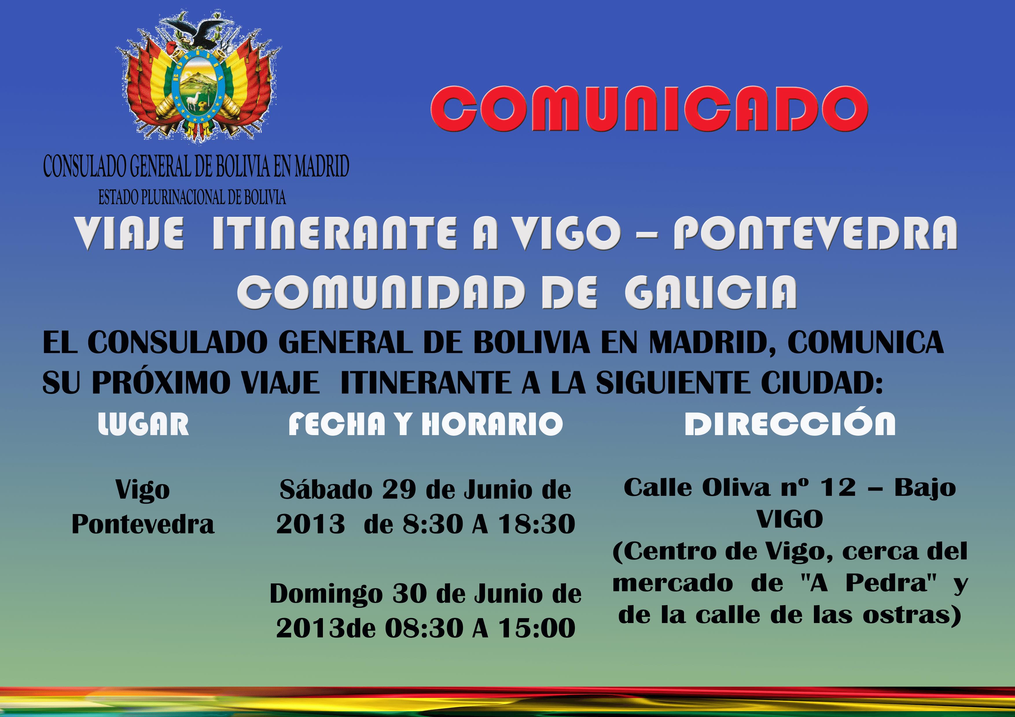 Viaje itinerante consulado bolivia a vigo galicia blog for Oficina de extranjeria madrid aluche