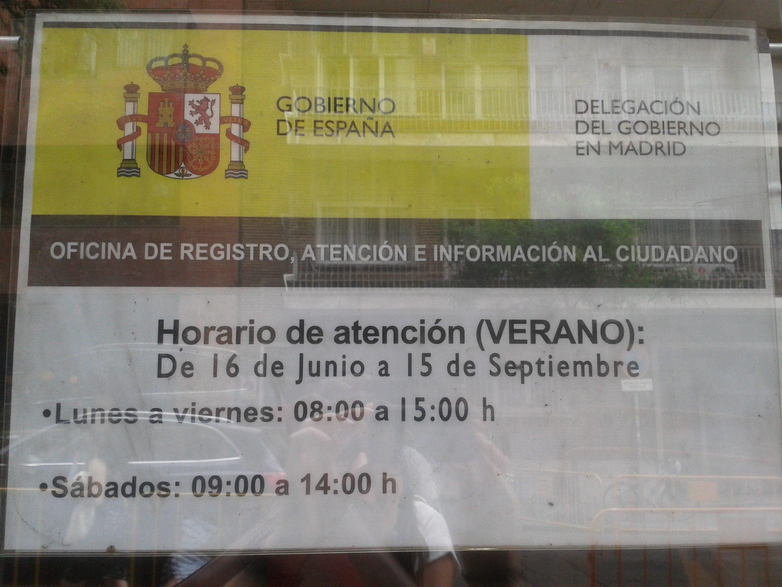 Horario verano registro delegaci n del gobierno blog for Oficina registro madrid