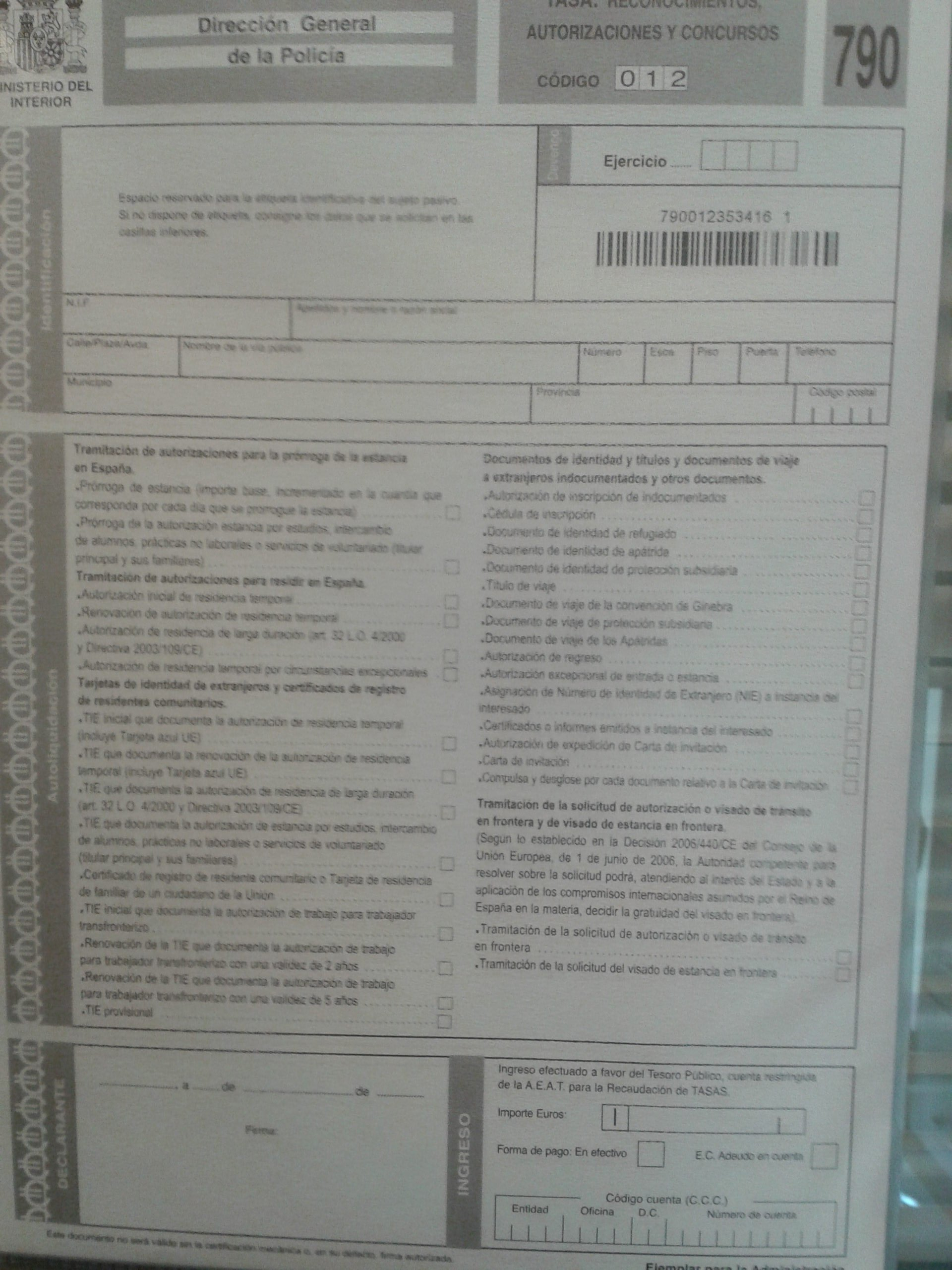 Importe tasas extranjer a blog extranjer a asociaci n for Legalizaciones ministerio del interior
