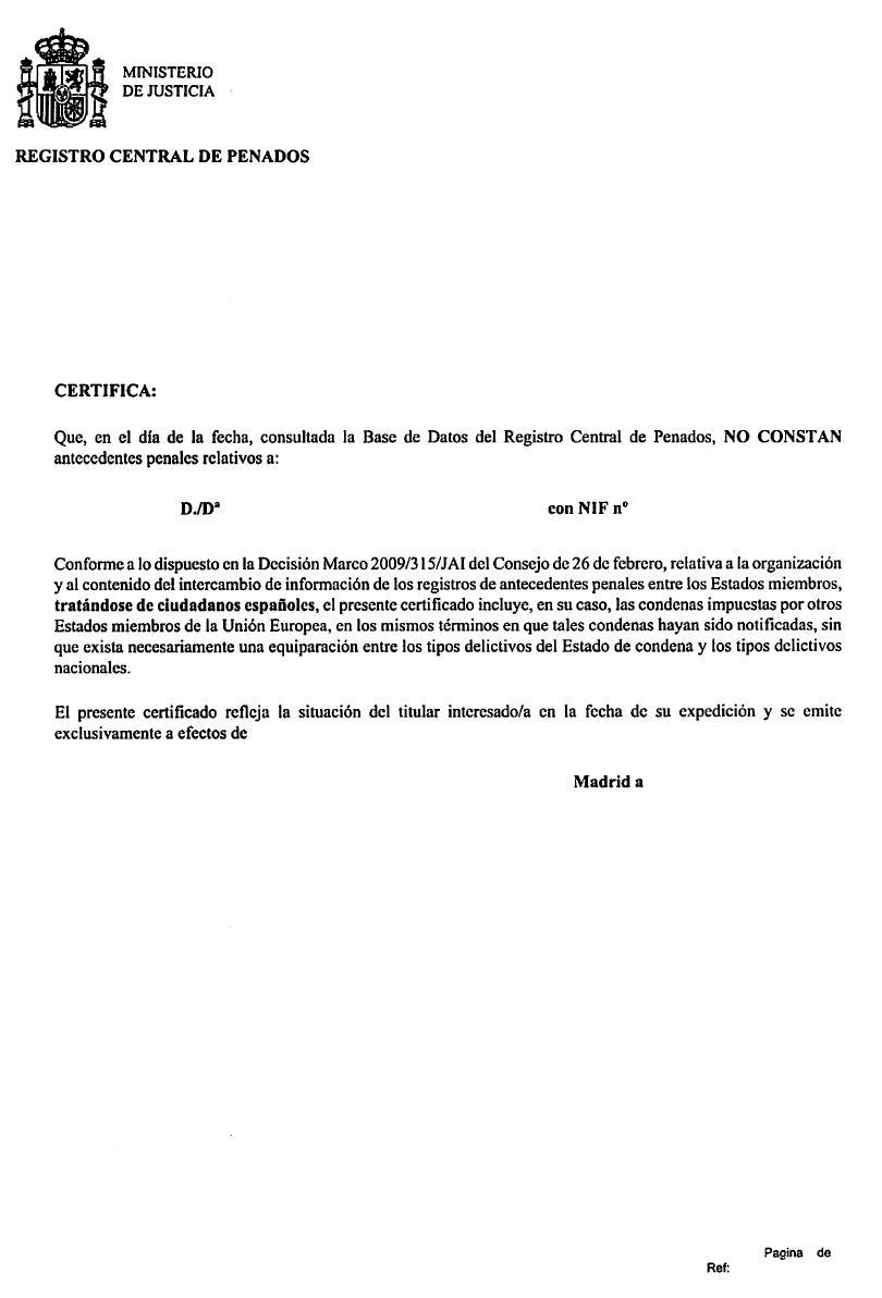 Nuevo modelo certificado antecedentes penales blog extranjer a asociaci n progesti n - Oficina de empadronamiento madrid ...