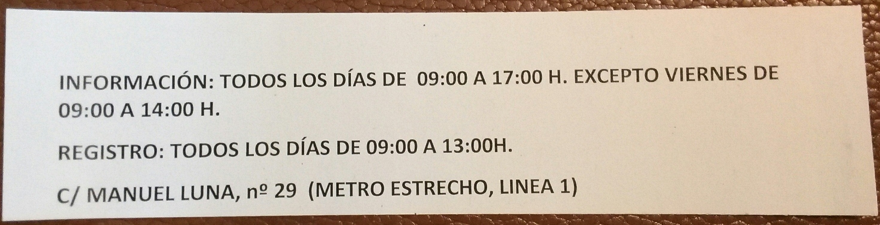 Informaci n oficina de extranjer a manuel luna madrid for Oficina de registro barcelona