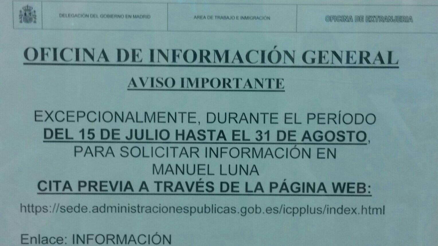 Aviso importante cita previa informaci n extranjer a for Oficina de extranjeria aluche