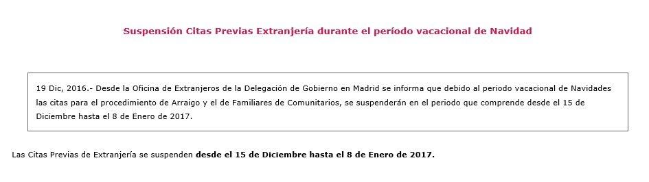Suspensi n citas previas extranjer a durante periodo for Oficina de extranjeria madrid aluche