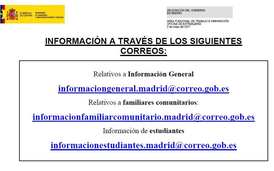 Solicitud informaci n extranjer a por correo electr nico for Oficina de extranjeria madrid aluche