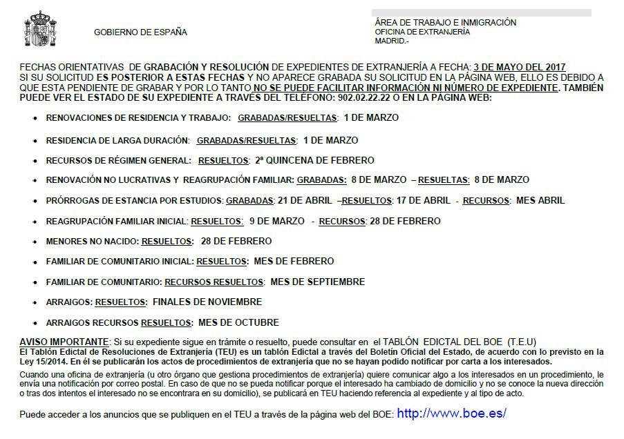 Fechas tramitaci n expedientes extranjer a madrid blog for Oficina de extranjeria madrid aluche