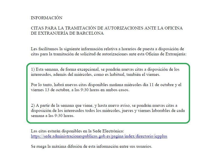 Habilitaci n citas extranjer a en barcelona blog for Oficina de extranjeria aluche