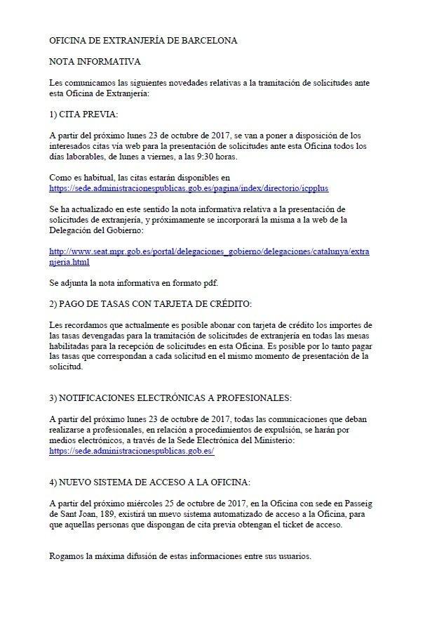 Importantes novedades oficina de extranjer a en barcelona for Oficina de extranjeria aluche